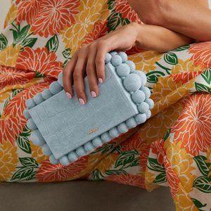 CULT GAIA Eos Croc-Print Beaded Suede Clutch Bag